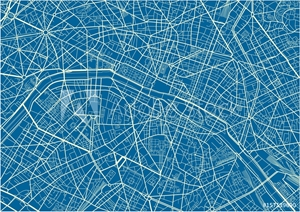 Picture of Blue and White vector city map of Paris with well organized separated layers.