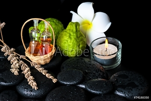Picture of Aromatic spa concept of bottles essential oil, bergamot fruits,