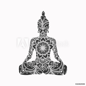 Picture of Abstract sitting Buddha silhouette. Vector illustration
