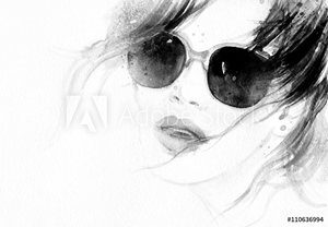 Picture of Abstract fashion watercolor illustration. Beautiful woman face.