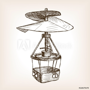 Picture of Antique helicopter hand drawn sketch vector
