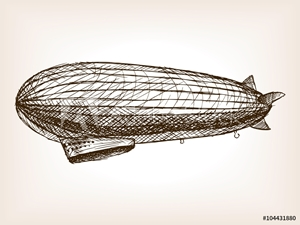 Picture of Antique dirigible hand drawn sketch vector