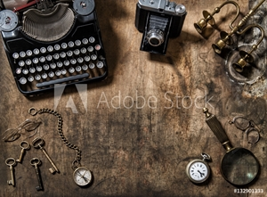 Picture of Antique typewriter vintage items photo camera