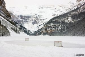 Picture of Ice Hockey rink on Lake Louise, Banff National Park, Alberta, Canada