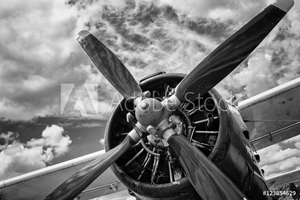 Picture of Close up of old airplane in black and white