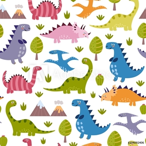Picture of Cute dinosaurs seamless pattern