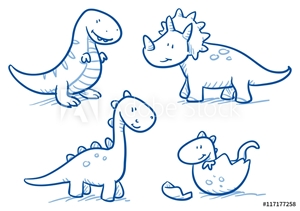 Picture of Cute little cartoon dinosaur babies for children, hand drawn vector doodle
