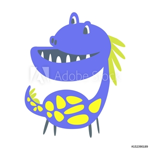 Picture of Blue and yellow funny dinosaur. Prehistoric animal character vector Illustration