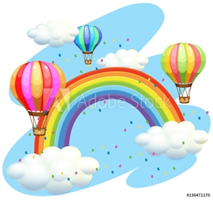 Picture of Balloons flying over the rainbow