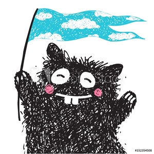 Picture of Cheerful Monster with Flag Greeting Kids