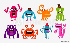 Picture of Cartoon monsters or bogeyman set. Vector illustration