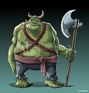 Picture of Big fat troll with axe in standing pose.