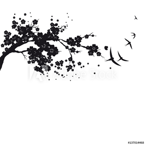 Picture of  black silhouete,flowers tree , on a white