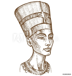 Picture of Bust of Nefertiti hand drawn