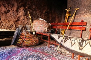 Picture of African drums and pilgrim rod, Ethiopia