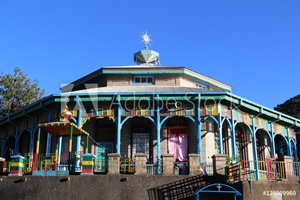 Picture of Entoto Maryam Church, an orthodox temple on the Entoto mountain in Addis Ababa