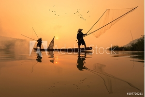 Picture of Fishermans is fishing in Mekong river in the morning at Nongkhai province, Thailand