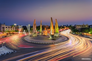 Picture of Democracy monument during twilight time,Thailand