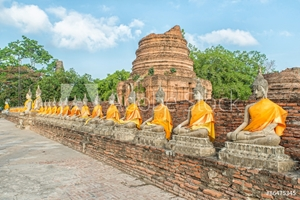 Picture of Aligned buddha statues at Wat Yai Chaimongkol Ayutthaya, Thailan