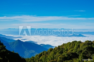 Picture of Landscape view point  many mist in mountain at Chiengmai