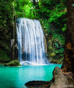 Picture of Erawan waterfall, the beautiful waterfall in forest at Erawan National Park - A beautiful waterfall on the River Kwai. Kanchanaburi, Thailand