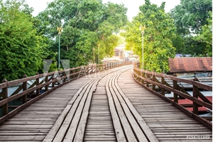 Picture of (Mon Bridge) Wooden bridge over the river in Sangkhlaburi District, Kanchanaburi, Thailand.