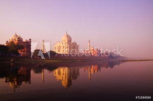 Picture of Beautiful Scenery Of Taj Mahal And A Body Of Water