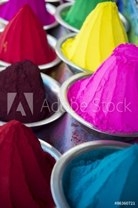 Picture of Colorful piles of Indian bindi powder dye at outdoor local Devaraja Market in Mysore India blue, yellow, red, green, pink, and purple