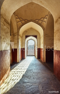 Picture of DELHI,INDIA-DECEMBER 14,2015: Doorway  Tomb of Humayun (mausoleum) in the garden of Char Bagh