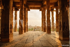 Picture of Beautiful architecture of ancient ruines of temple in Hampi