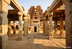 Picture of Architecture of ancient ruins of temple in Hampi