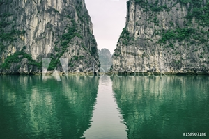 Picture of Beautiful landscape with azure water and limestone mountain at Ha long Bay, North Vietnam