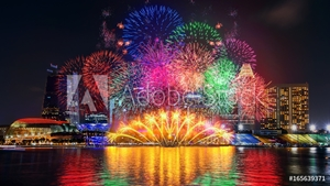 Picture of Firework display in Singapore.