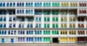 Picture of Colorful window shutters near Clark Quay, Singapore.