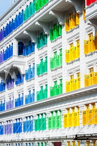 Picture of Colorful window shutters at Clark Quay, Singapore