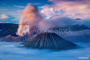 Picture of Bromo, Batok and Semeru volcanoes at sunrise, Java island, Indon
