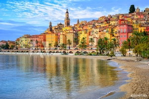 Picture of Colorful medieval town Menton on Riviera, Mediterranean sea, Fra