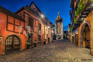 Picture of Dolder Tower and traditional houses in Riquewihr, France