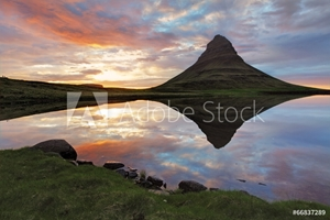 Picture of Iceland Landscape spring panorama at sunset