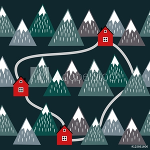 Picture of Cute Icelandic landscape with houses and mountains. Seamless pattern with geometric snowy mountains and homes. Colorful Iceland nature illustration. Vector mountains background.