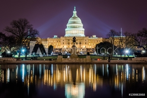 Picture of Capitol Building at Night in District of Columbia with Reflection