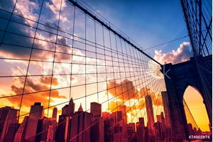 Picture of Brooklyn Bridge and Manhattan at sunset