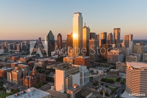 Picture of Dallas City Skyline Sunset