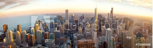 Picture of Aerial Chicago panorama at sunset, IL, USA