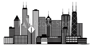 Picture of Chicago City Skyline Black and White Vector Illustration