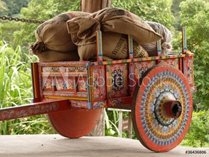 Picture of Costa Rican Ox Cart loaded with coffee bags