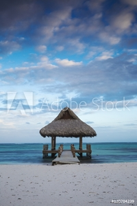 Picture of Dominican Republic, Punta Cana, Playa Blanca, Wooden pier with thatched hut