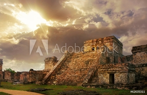 Picture of Castillo fortress at sunrise in the ancient Mayan city of Tulum,