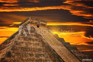 Picture of Kukulkan Pyramid in Chichen Itza Site