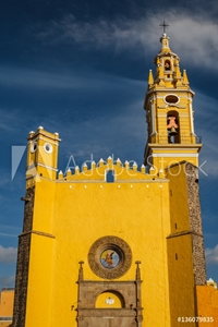 Picture of Colonial church in the historic part of Cholula, Puebla, Mexico